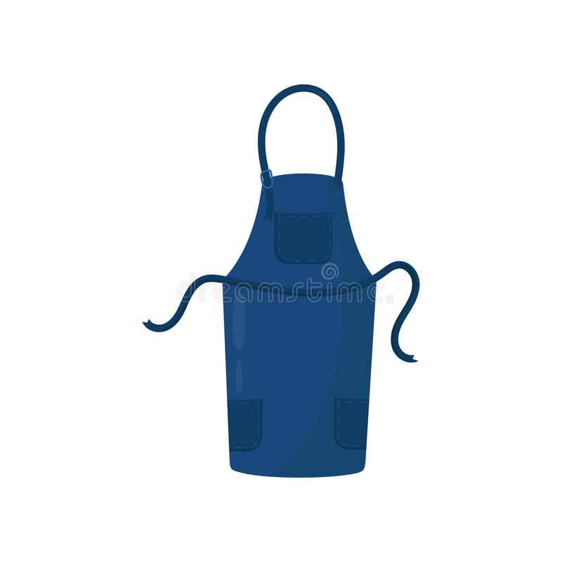 Tablier bleu-foncé de cuisine avec trois poches Cuisson de la robe pour la femme au foyer ou le chef du restaurant Conception pla illustration stock