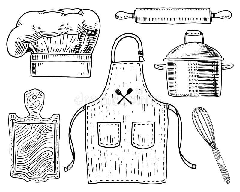 Tablier ou pinaphora et capot, goupille et casserole ou corolle, panneau en bois Ustensiles de chef et de cuisine, faisant cuire  illustration stock