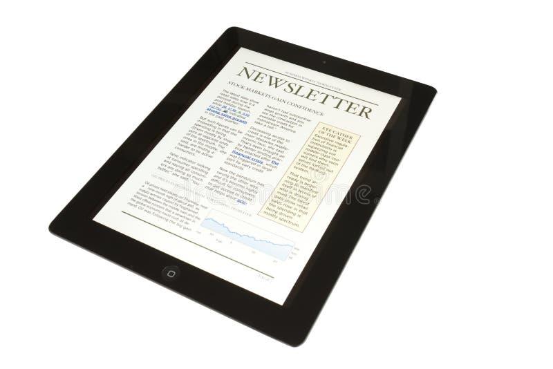 Tablilla Con El Boletín De Noticias Del Asunto Foto de archivo libre de regalías