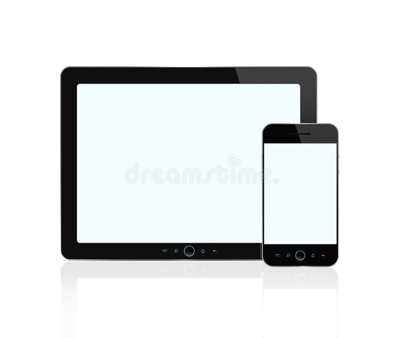 Tablilla digital en blanco y teléfono elegante libre illustration
