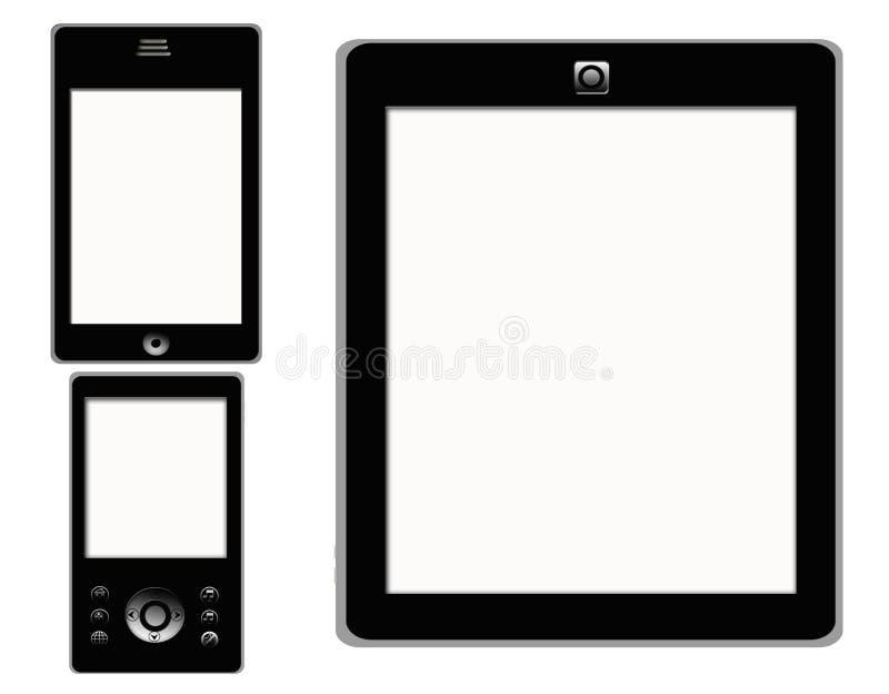 Tablilla elegante MP4 del teléfono de la pantalla táctil stock de ilustración