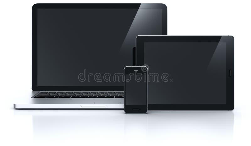 Tablilla y smartphone de la computadora portátil stock de ilustración