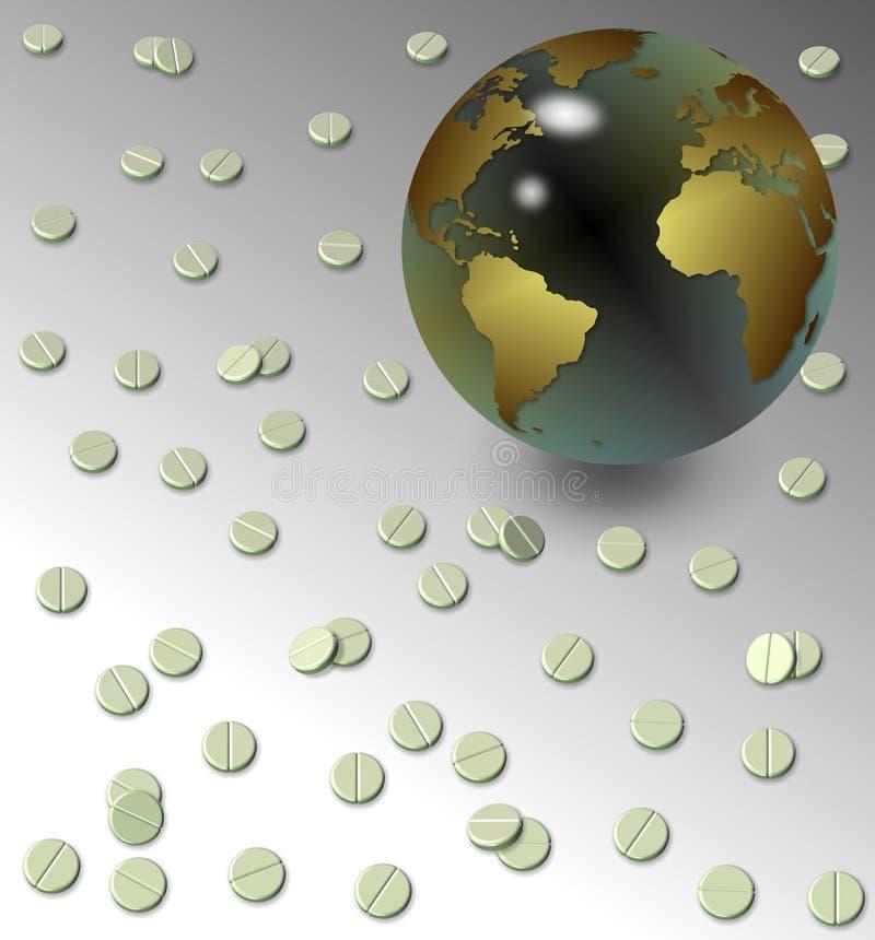 Tablillas y globo de la tierra stock de ilustración
