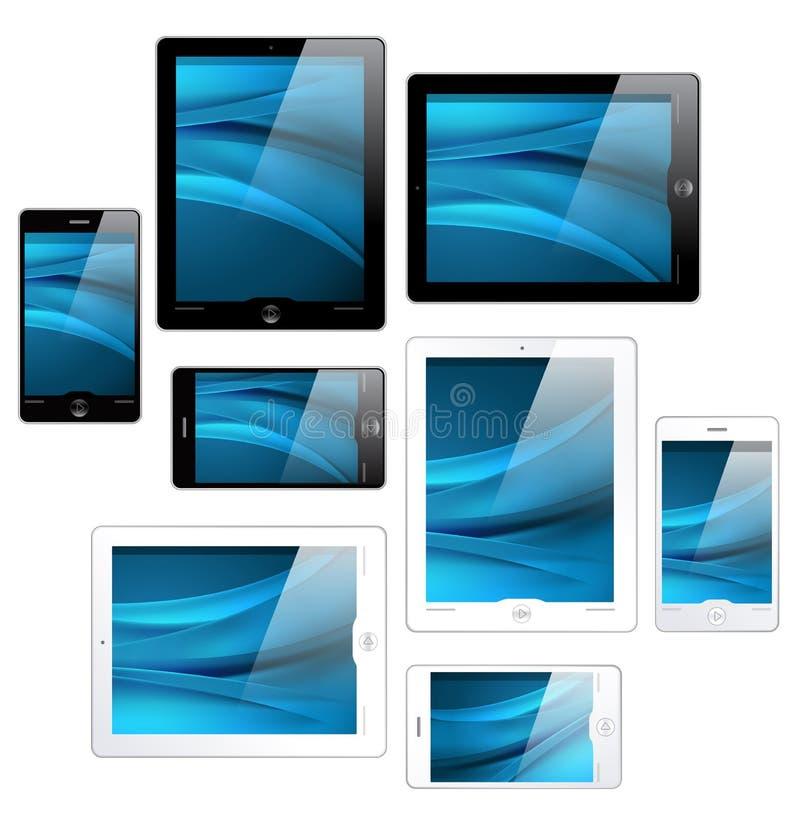 Tablillas y teléfonos móviles - vector de la pantalla táctil stock de ilustración