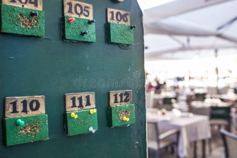 Tabloid per gli ordini delle tavole al ristorante del terrazzo fotografia stock