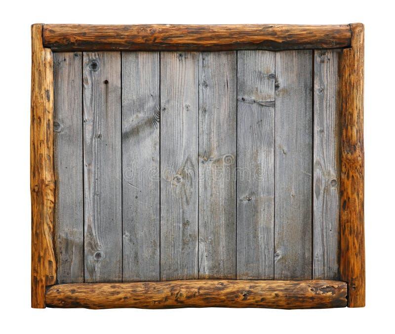 Tablones de madera del viejo vintage con el marco de la frontera del registro imagenes de archivo
