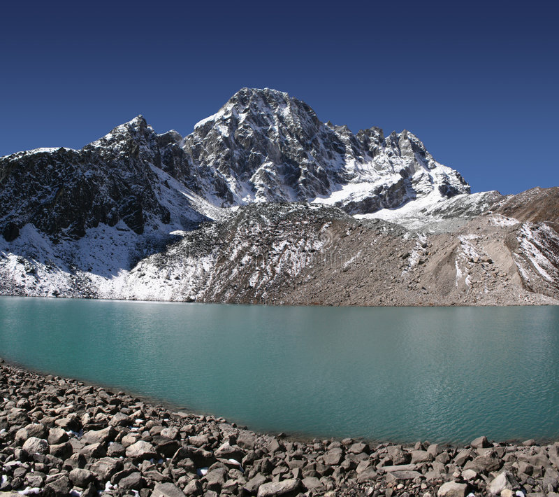 Taboche Tsho and Pharilapche Peak royalty free stock images
