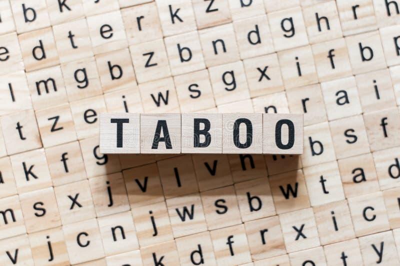 Taboe woordconcept op kubussen stock afbeelding