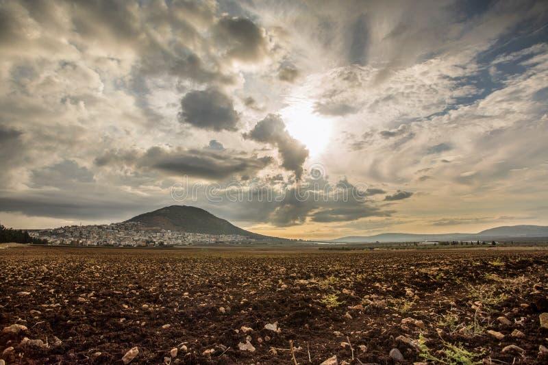 Tabor berg och Jezreel dal i Galilee, Israel royaltyfri fotografi