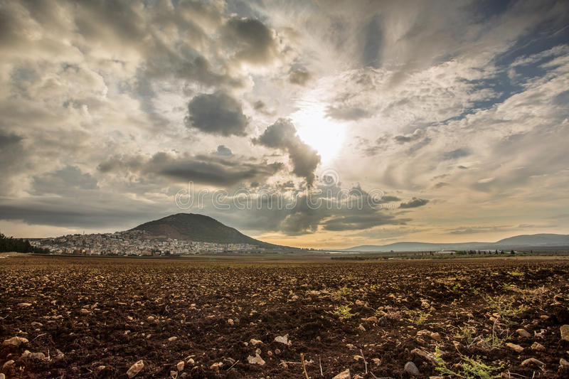 Tabor Mountain and Jezreel Valley in Galilee, Israel royalty free stock photography