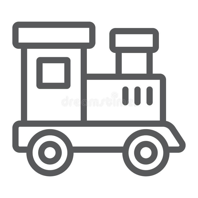 Taborowa zabawki linii ikona, dziecko i linia kolejowa, lokomotywa znak, wektorowe grafika, liniowy wzór na białym tle ilustracja wektor