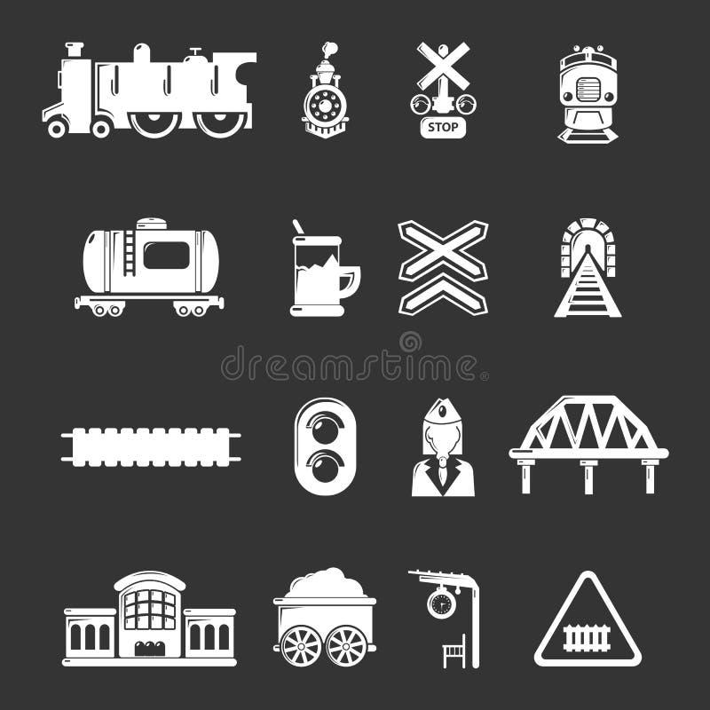 Taborowe linii kolejowych ikony ustawiać siwieją wektor ilustracja wektor