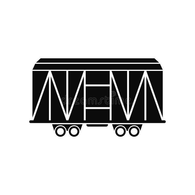 Taborowego ładunku furgonu czerni prosta ikona royalty ilustracja