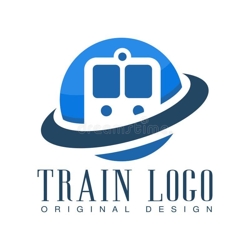 Taborowego loga oryginalny projekt, błękitna kolejowego transportu odznaki wektoru ilustracja royalty ilustracja