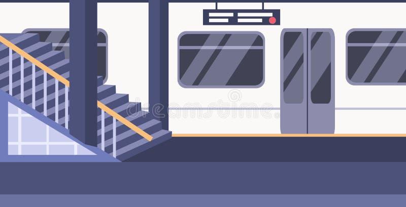 Taborowego metra kolejowa stacja metra no opróżnia żadny ludzi estradowego miasto transportu pojęcia mieszkania horyzontalnego ilustracja wektor