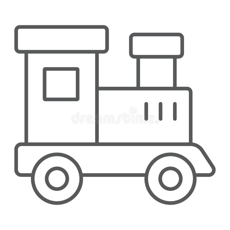 Taborowej zabawki cienka kreskowa ikona, dziecko i linia kolejowa, lokomotywa znak, wektorowe grafika, liniowy wzór na białym tle ilustracja wektor