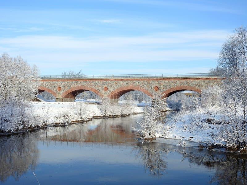 Taborowi mostu, rzecznych i pięknych śnieżni drzewa, Lithuania obrazy royalty free