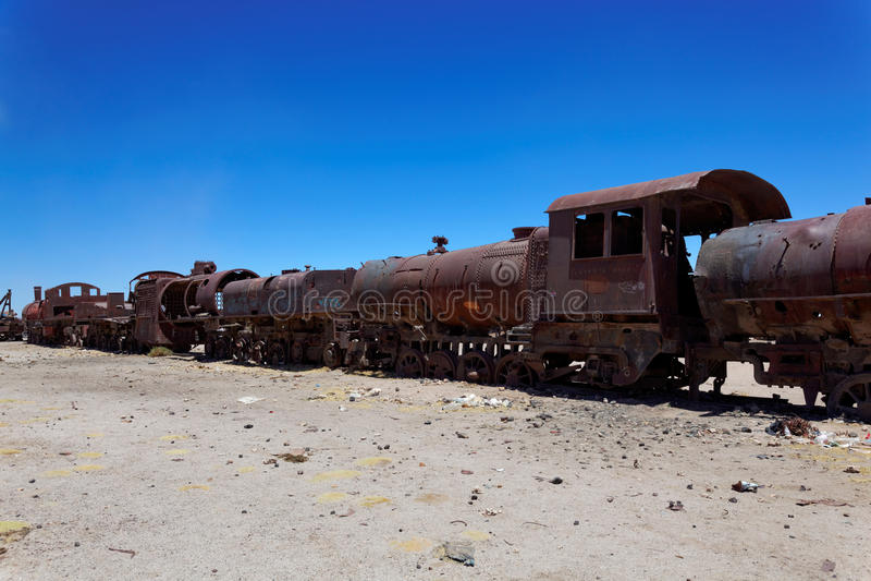 Taborowy Boneyard, Salar De Uyuni, Boliwia, Ameryka Południowa fotografia royalty free