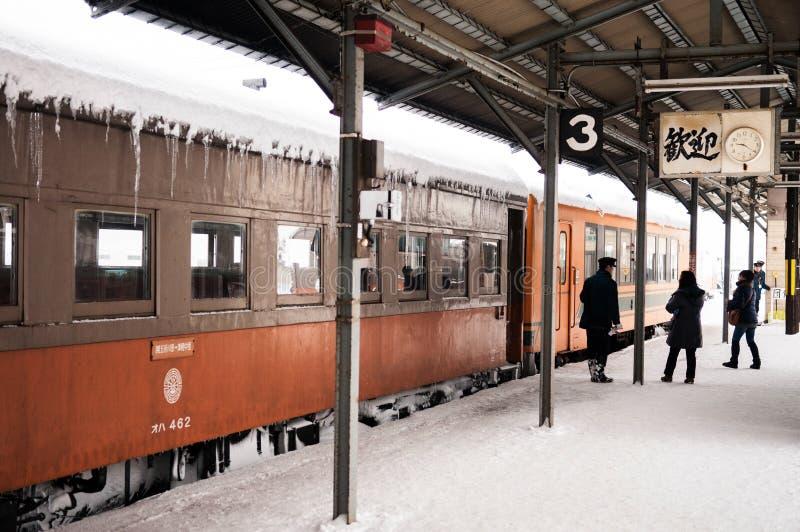 Taborowy dyrygent klasyczny stary potbelly kuchenki pociąg, Tsugaru raja obrazy stock