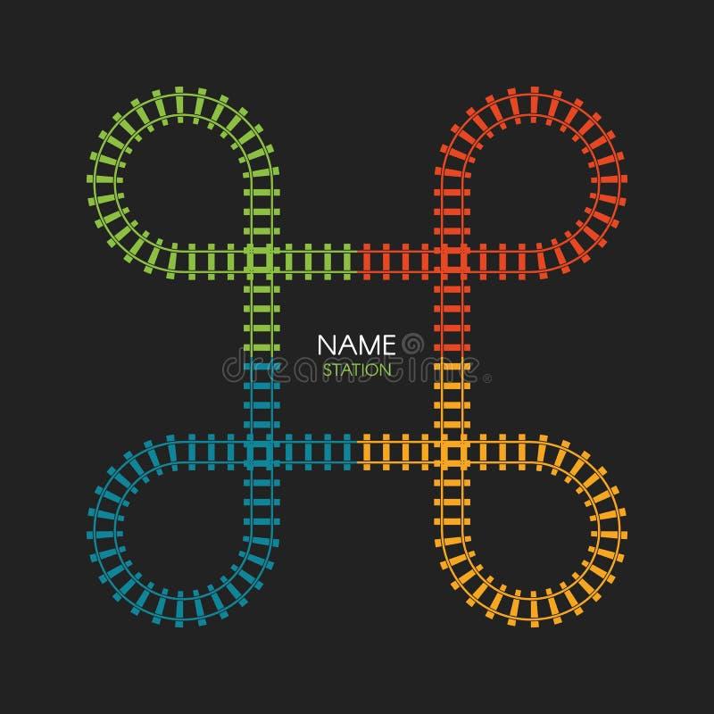 Taborowy pętla śladu logo Linia kolejowa, kolejowa prosta ikona, linia kolejowa kierunek, wektorowa ilustracja na czarnym tle royalty ilustracja