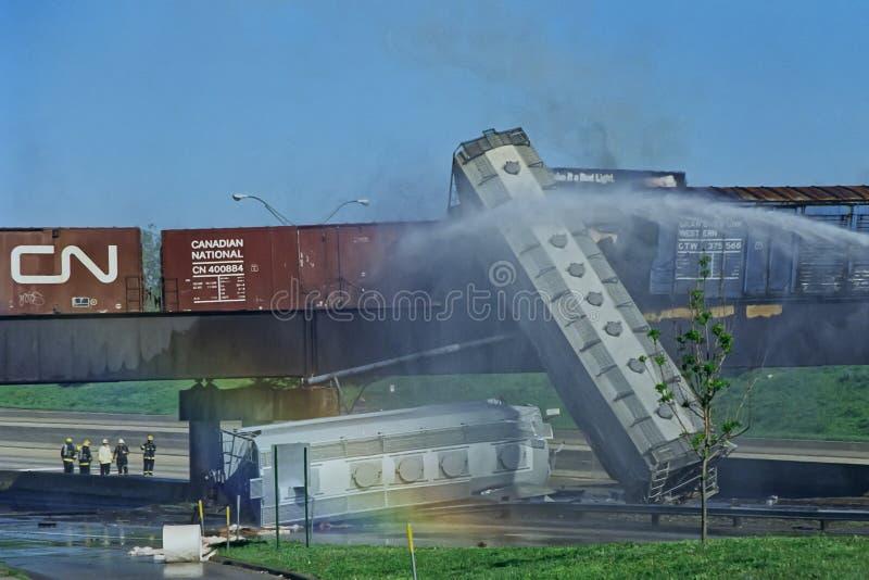 Taborowy wykolejenie, Maj 22 1995 zdjęcie stock