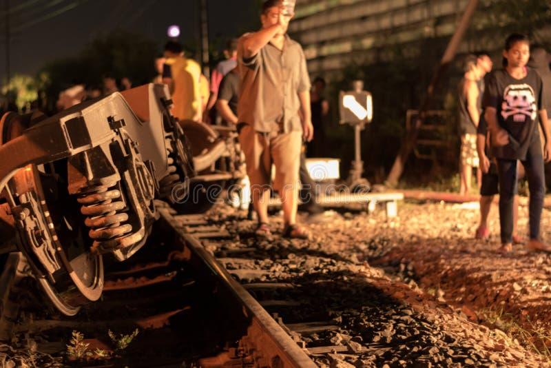 Taborowy wykolejenie w Nakhon Ratchasima, Tajlandia 10/7/2017 obrazy stock