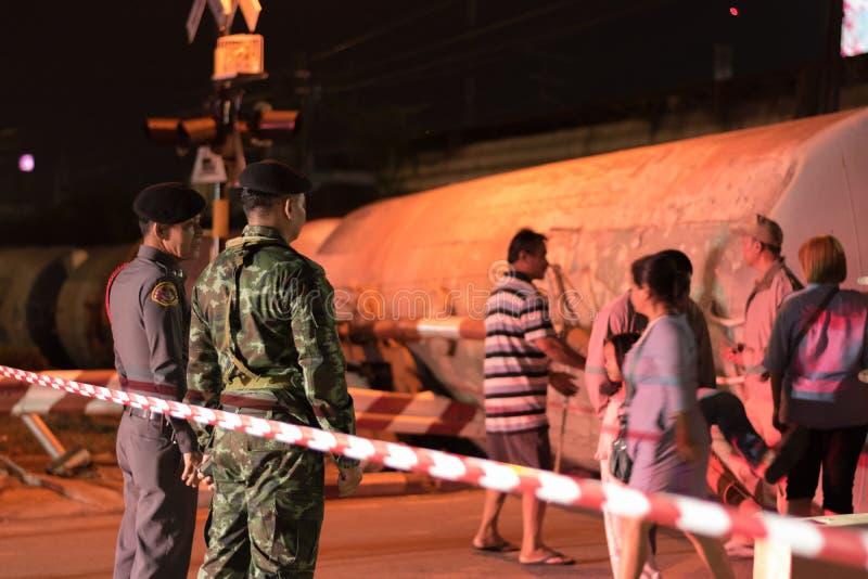 Taborowy wykolejenie w Nakhon Ratchasima, Tajlandia 10/7/2017 fotografia royalty free
