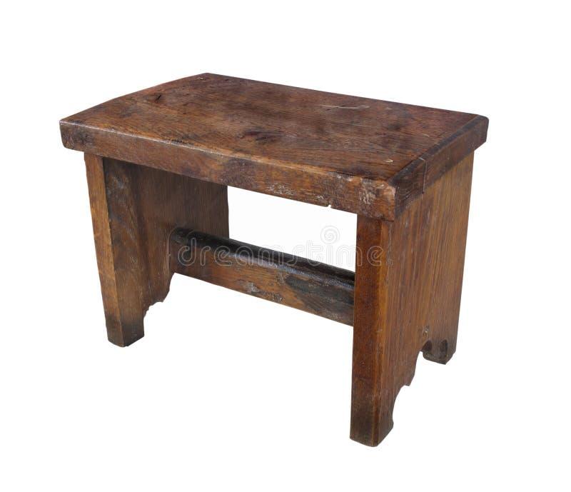 Tabouret en bois antique d'isolement images stock