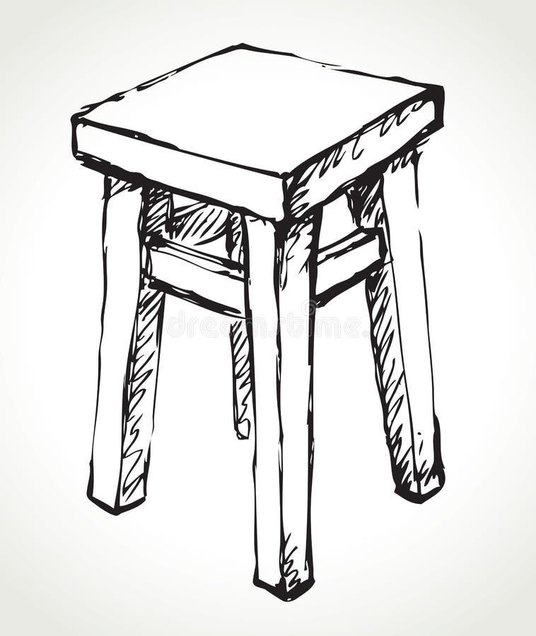 Tabouret en bois de cuisine Croquis de vecteur illustration libre de droits