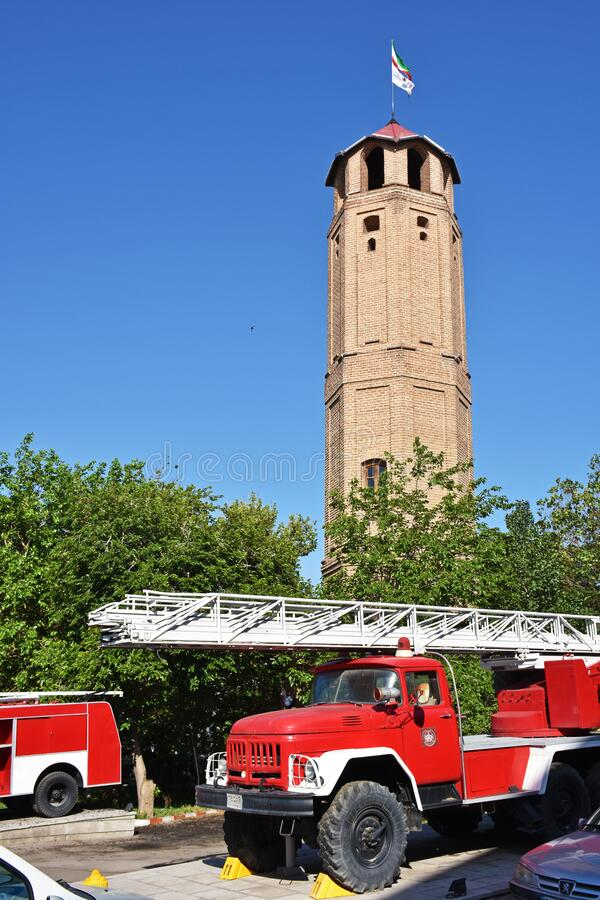 Free Tabriz Firefighting Historical Tower And Old Model Fire Engines  , Iran Royalty Free Stock Images - 190330399