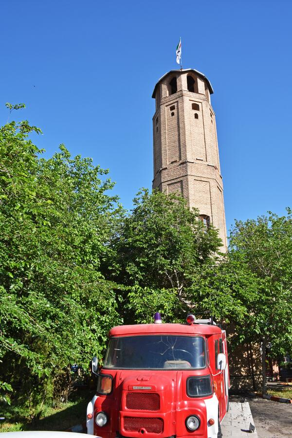 Free Tabriz Firefighting Historical Tower And Old Model Fire Engines  , Iran Stock Images - 190330894