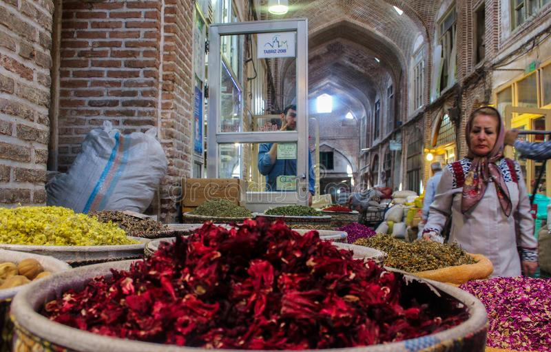 Tabriz, Iran - 16 July 2017: Spices in the great bazaar of Tabriz in Iran biggest market of the world and  containers stock photos