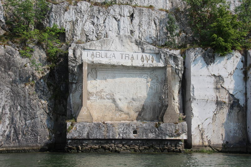 Tabula Traiana on the Danube. Tabula Traiana is a Roman memorial plaque commemorating the completion of Trajan's military road is located on the Serbian side royalty free stock photography