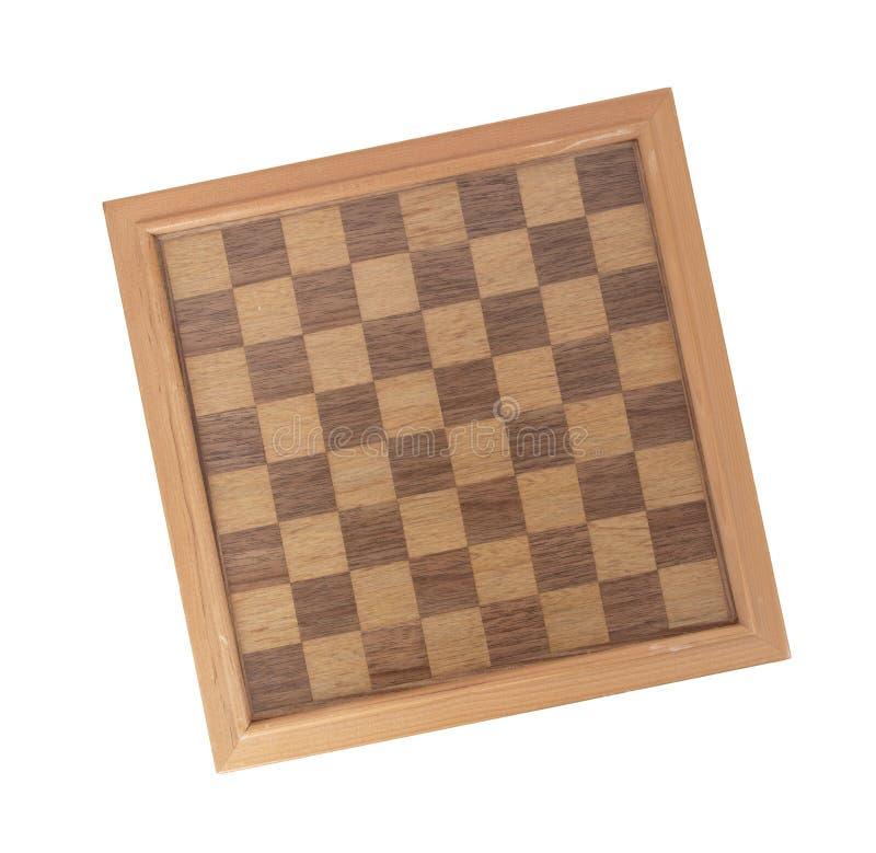 Tabuleiro de xadrez de madeira vazio imagem de stock
