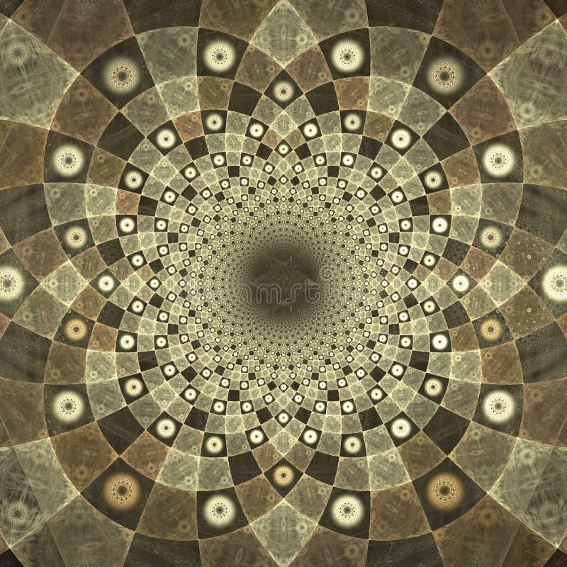 Tabuleiro de xadrez hipnótico do browm do fractal ilustração royalty free
