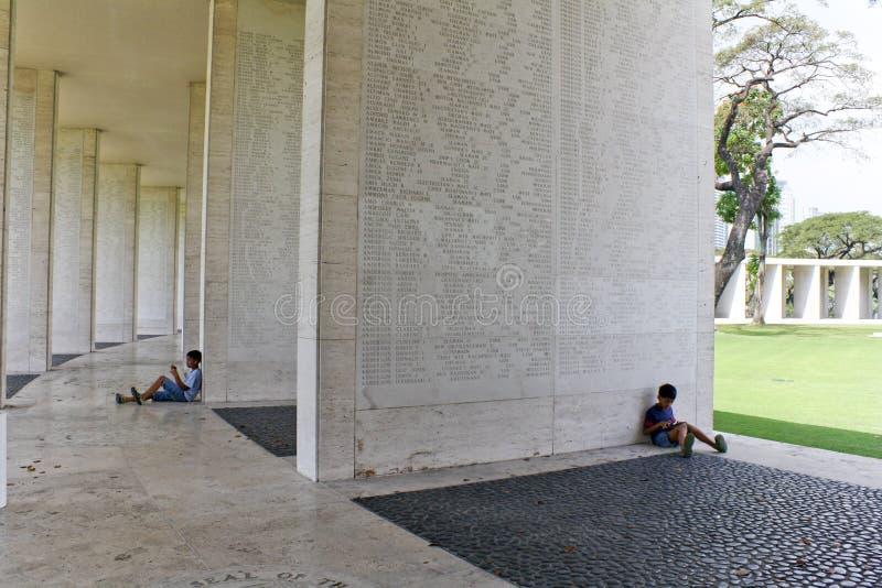 Tabuleta americana do cemitério de Manila dos desaparecidos foto de stock
