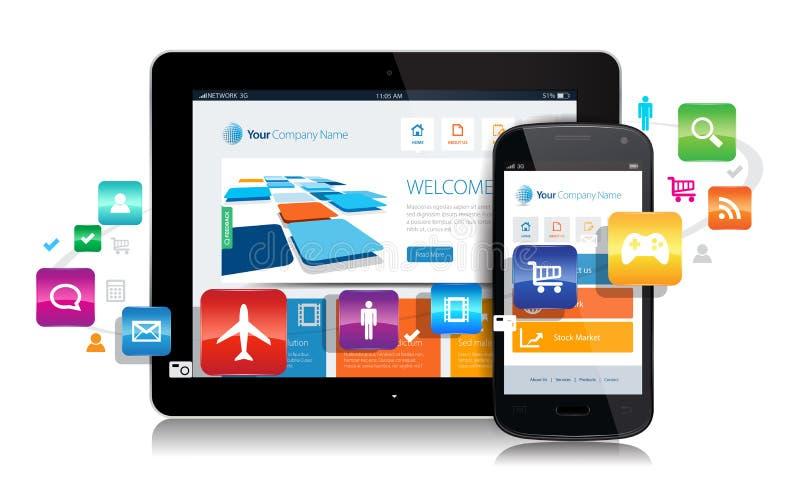 Tabuleta Apps de Smartphone ilustração royalty free