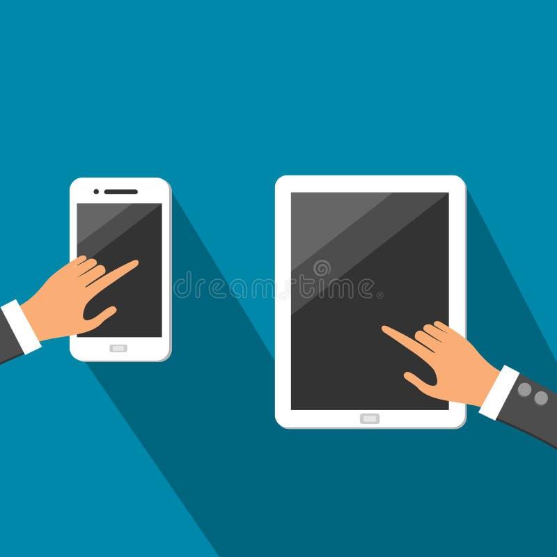 Tabuleta branca e Smartphone com vetor das mãos ilustração stock