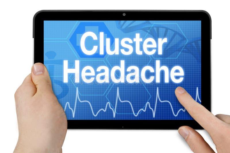 Tabuleta com écran sensível e fundo médico com dor de cabeça de conjunto do diagnóstico fotos de stock