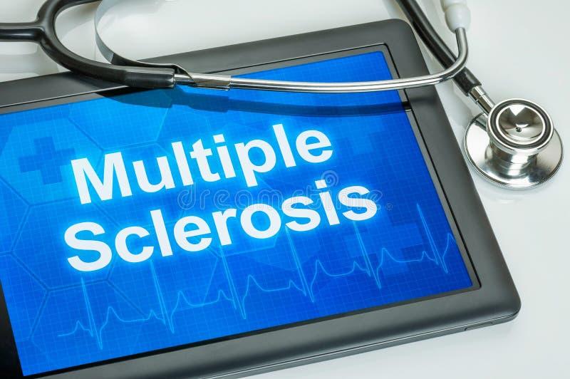 Tabuleta com a esclerose múltipla do diagnóstico imagens de stock