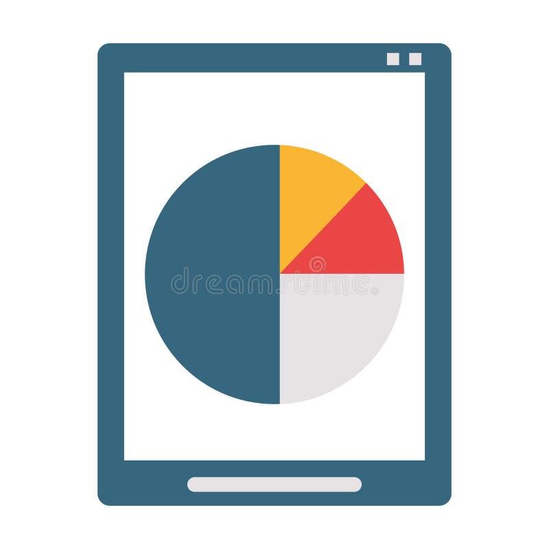 Tabuleta com gráfico da torta das estatísticas ilustração stock