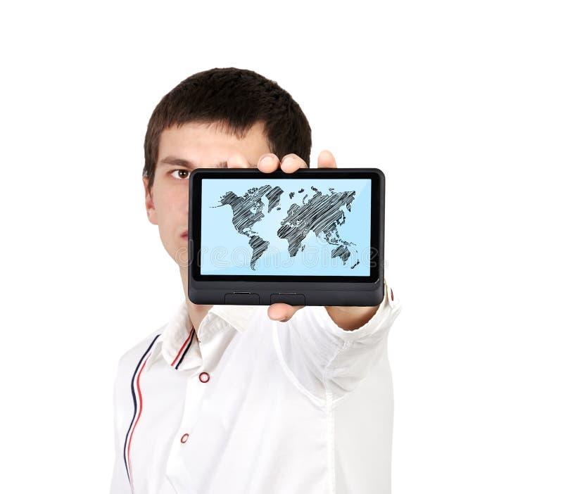 Tabuleta com mapa do mundo fotografia de stock royalty free