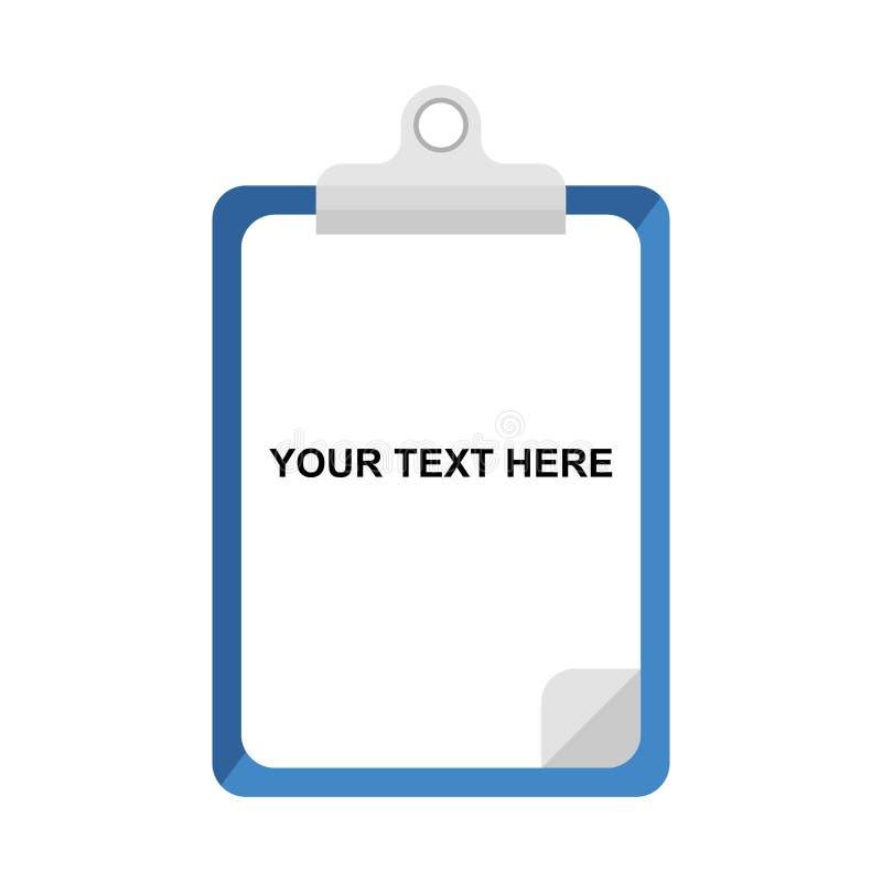 Tabuleta com papel Nota e base para escrever Ilustração do vetor da lista de verificação da tabuleta Ícone de papel do vetor do p ilustração royalty free