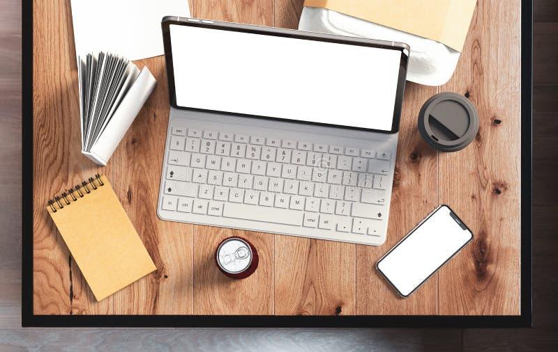 Tabuleta com teclado e a tela vazia foto de stock