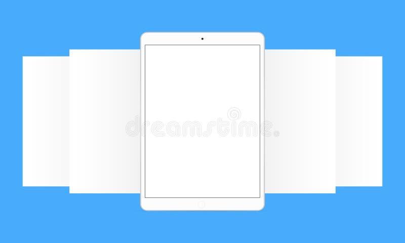 Tabuleta com telas do app ilustração stock