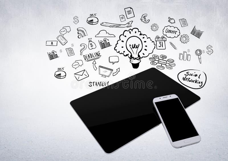 tabuleta 3D e telefone contra o fundo branco com ilustrações do gráfico de negócio ilustração royalty free