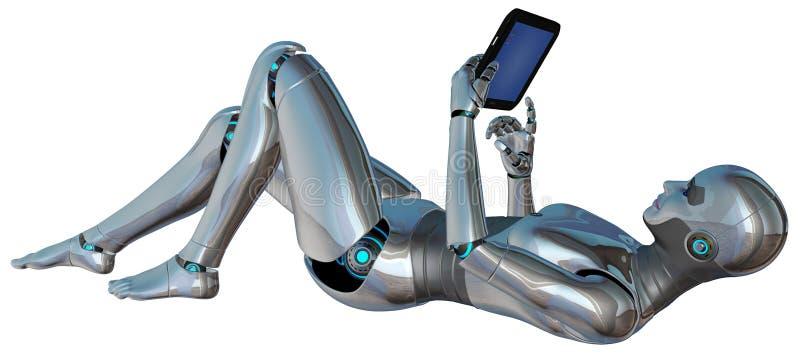 Tabuleta da mulher de Android do robô isolada ilustração royalty free