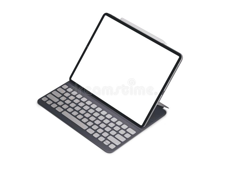 Tabuleta da tela vazia no fundo branco Ipad isolado imagem de stock