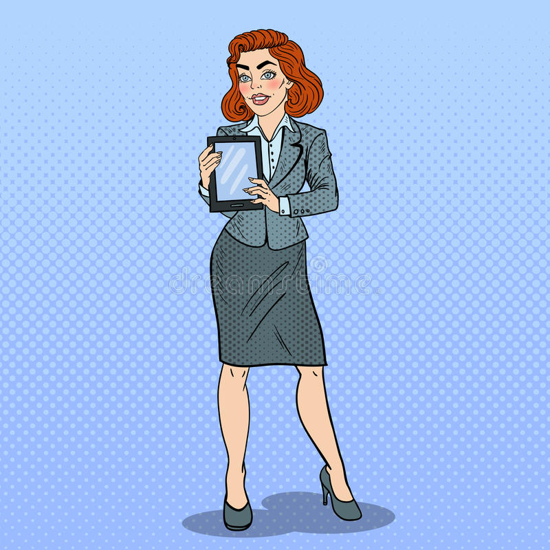 Tabuleta de Art Beautiful Business Woman Holding Digital do PNF ilustração stock