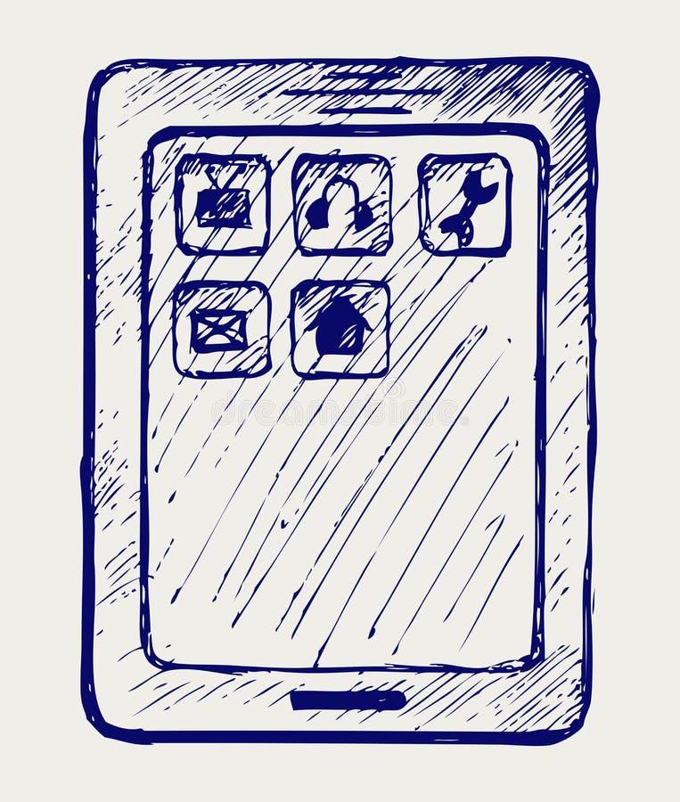 Tabuleta de Digitas ilustração stock